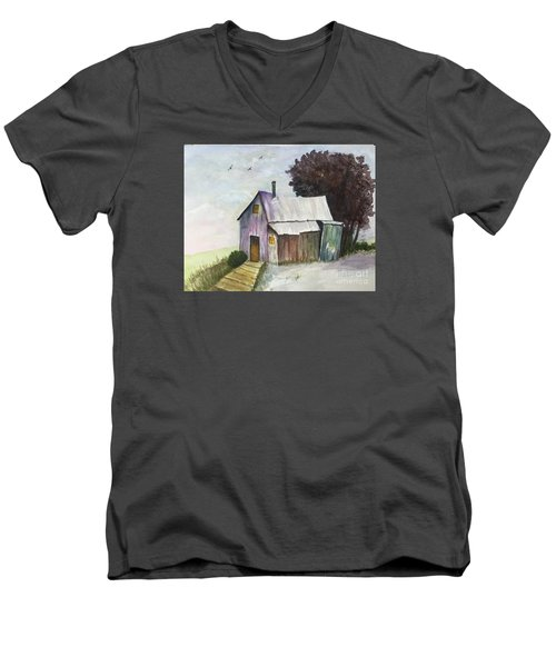 Colorful Weathered Barn Men's V-Neck T-Shirt by Lucia Grilletto