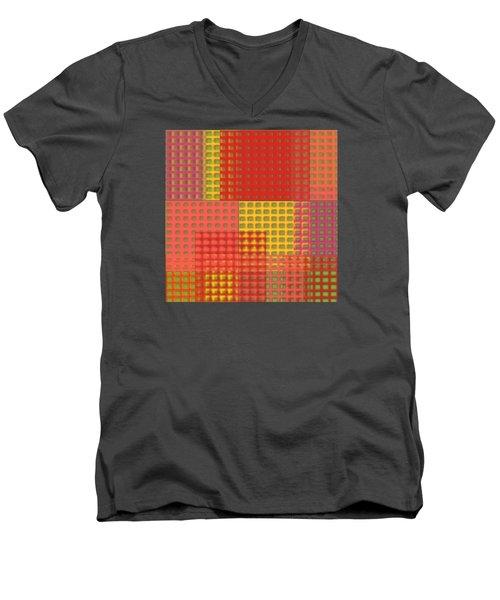Colorful Weave Men's V-Neck T-Shirt by Bonnie Bruno