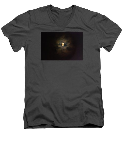 Men's V-Neck T-Shirt featuring the photograph Colorfull Moon by Ramona Whiteaker