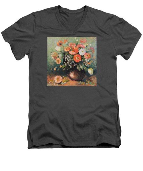 Coloroful Zinnias Bouqet Men's V-Neck T-Shirt by Vali Irina Ciobanu