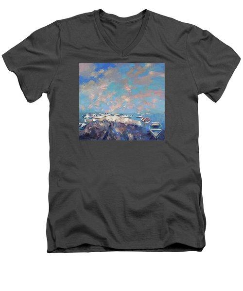 Men's V-Neck T-Shirt featuring the painting Colors Flamingo by Anastasija Kraineva