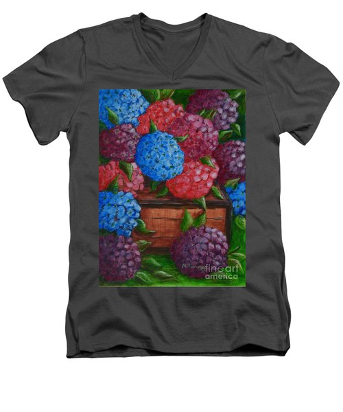 Men's V-Neck T-Shirt featuring the painting Colors by Melvin Turner