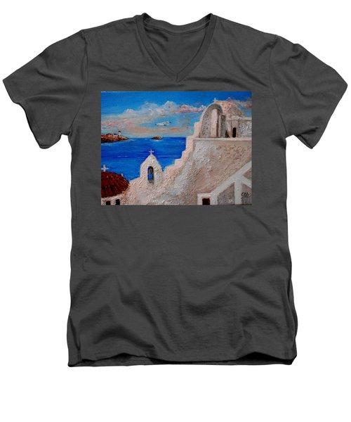 Colors Of Greece Men's V-Neck T-Shirt