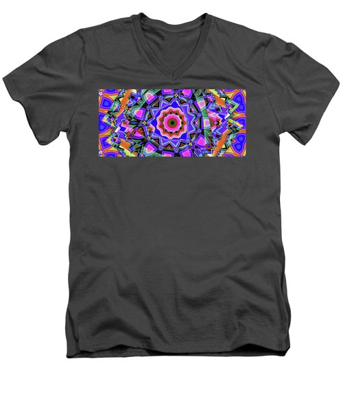 Men's V-Neck T-Shirt featuring the digital art Colors O're Laid by Ron Bissett