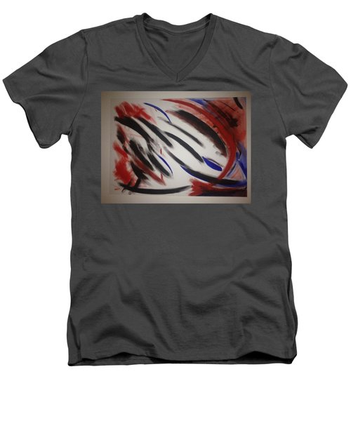 Men's V-Neck T-Shirt featuring the painting Abstract Colors by Sheila Mcdonald