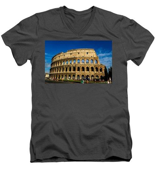 Colosseo Roma Men's V-Neck T-Shirt by Rainer Kersten