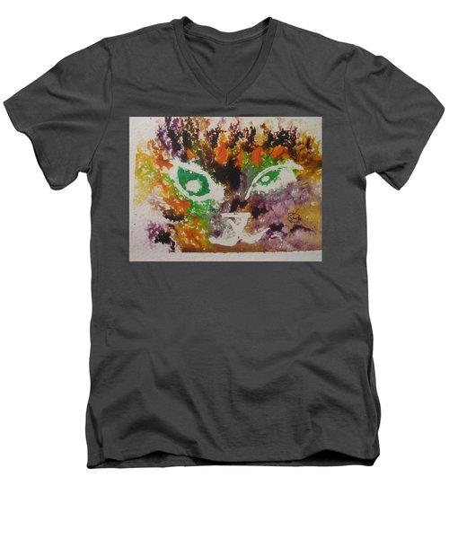 Colourful Cat Face Men's V-Neck T-Shirt by AJ Brown