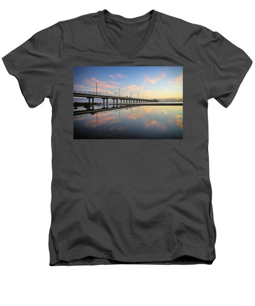 Colourful Cloud Reflections At The Pier Men's V-Neck T-Shirt