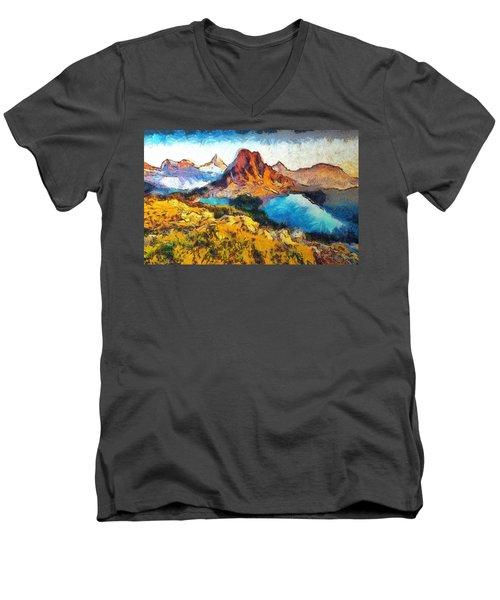 Columbia Lake Reverie Men's V-Neck T-Shirt by Mario Carini