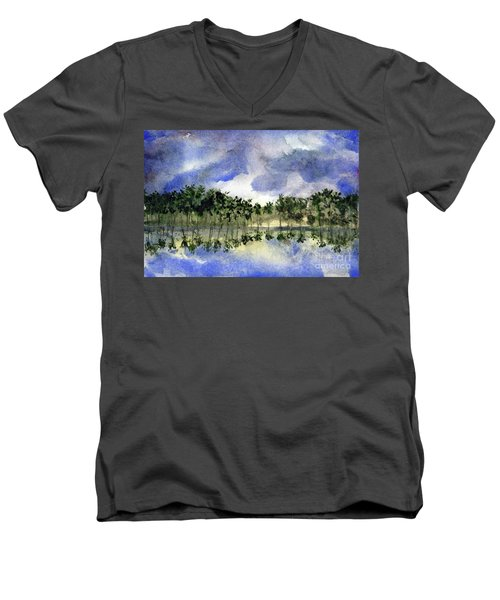 Columbian Shoreline Men's V-Neck T-Shirt by Randy Sprout