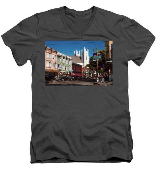 Columbus And Stockton In North Beach Men's V-Neck T-Shirt