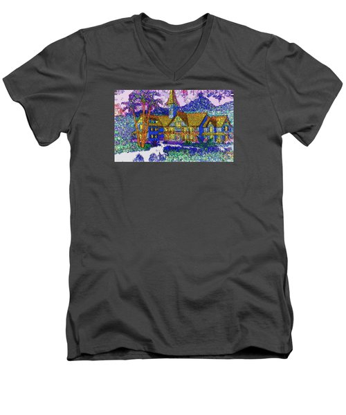 Men's V-Neck T-Shirt featuring the painting Comic Inn by Mario Carini