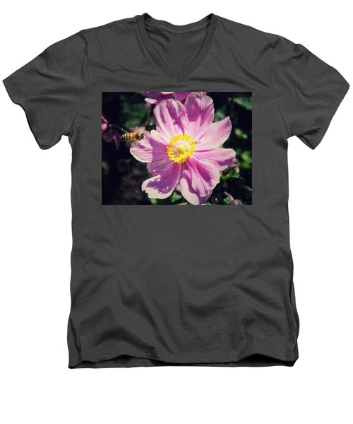 Men's V-Neck T-Shirt featuring the photograph Coming In For A Landing by Karen Stahlros