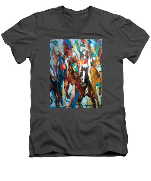 Coming Up Green Men's V-Neck T-Shirt by Heather Roddy