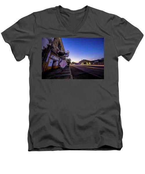 Commerce East Men's V-Neck T-Shirt by Micah Goff