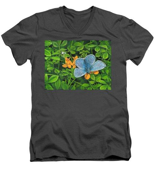 Common Blue On Bird's-foot Trefoil Men's V-Neck T-Shirt