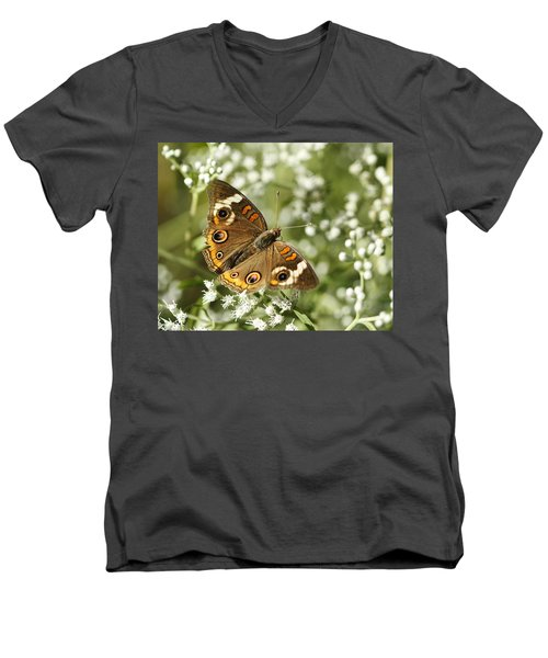Common Buckeye Butterfly On White Thoroughwort Wildflowers Men's V-Neck T-Shirt