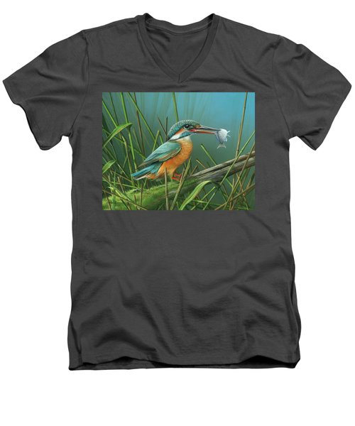 Men's V-Neck T-Shirt featuring the painting Common Kingfisher by Mike Brown