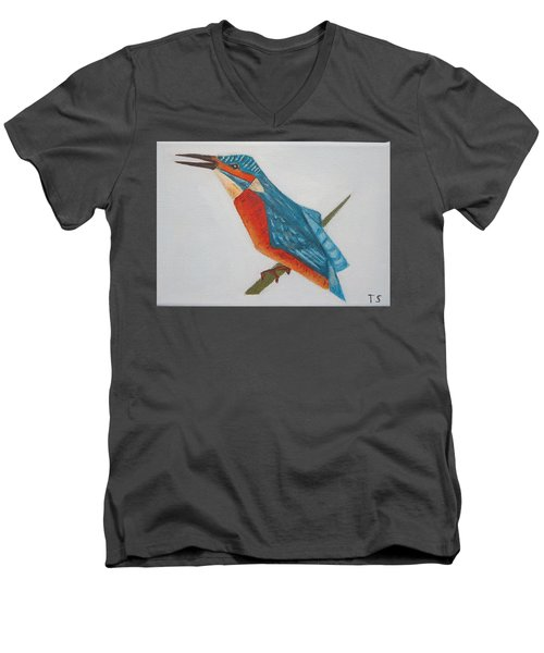 Common Kingfisher Men's V-Neck T-Shirt by Tamara Savchenko