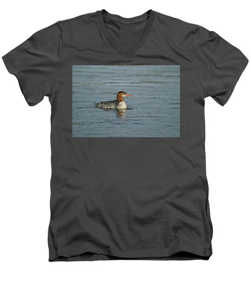 Common Merganser 9814 Men's V-Neck T-Shirt by Michael Peychich