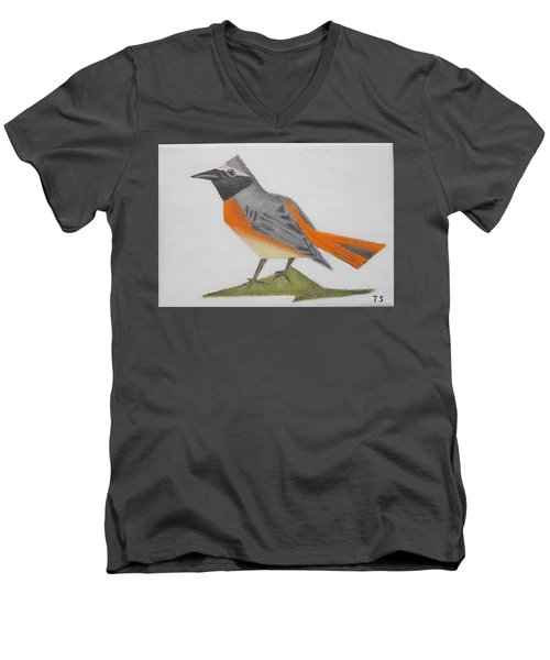 Common Redstart Men's V-Neck T-Shirt by Tamara Savchenko