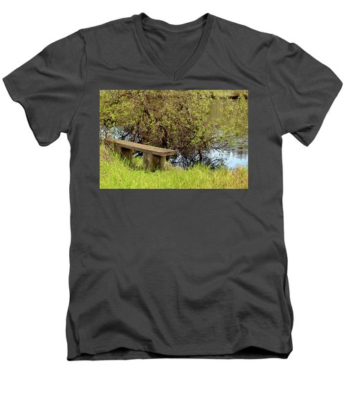 Men's V-Neck T-Shirt featuring the photograph Communing With Nature by Art Block Collections