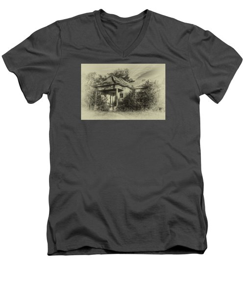 Community Center II In Sepia Men's V-Neck T-Shirt