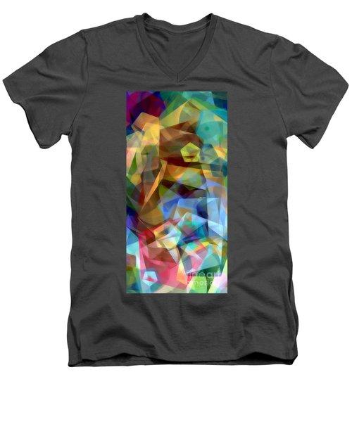 Men's V-Neck T-Shirt featuring the digital art Complicated Sunset by Rafael Salazar