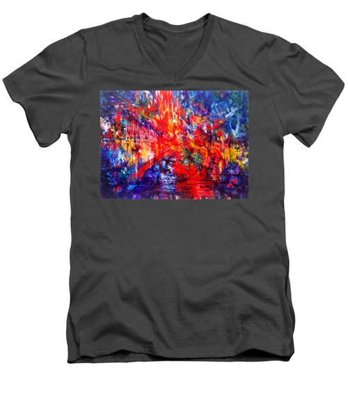 Composition # 1. Series Abstract Sunsets Men's V-Neck T-Shirt by Helen Kagan