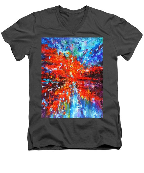 Composition # 2. Series Abstract Sunsets Men's V-Neck T-Shirt by Helen Kagan