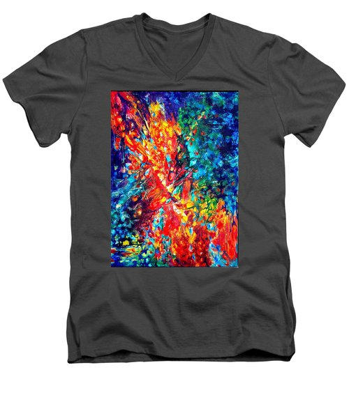 Composition #3. Abstract Sunsets.  Men's V-Neck T-Shirt by Helen Kagan