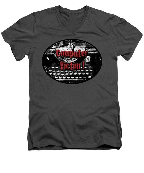 Computer Victim Men's V-Neck T-Shirt by Phyllis Denton