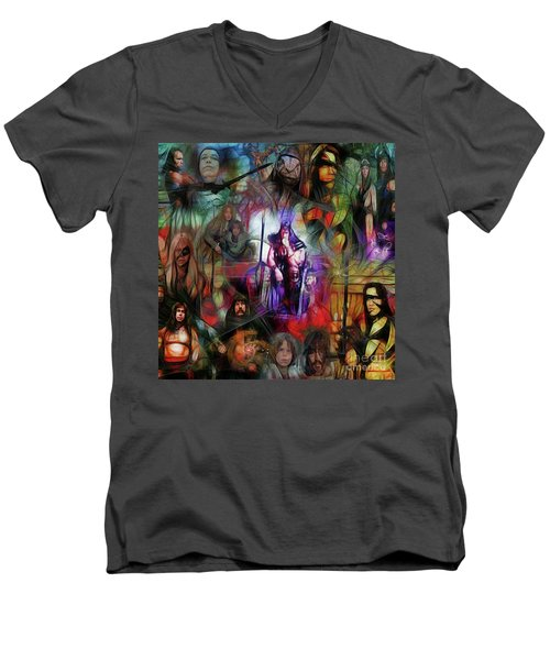 Conan The Barbarian Collage - Square Version Men's V-Neck T-Shirt by John Robert Beck