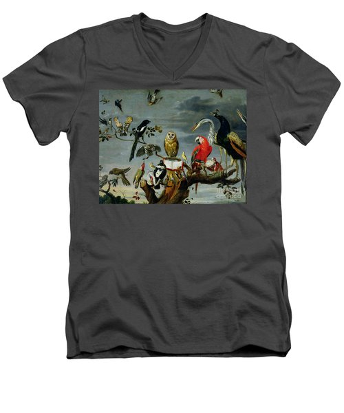 Concert Of Birds Men's V-Neck T-Shirt by Frans Snijders