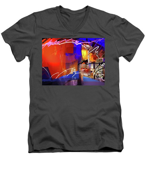 Men's V-Neck T-Shirt featuring the digital art Concert Stage by Walter Fahmy