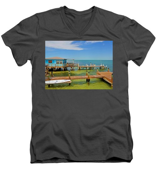 Conch Key Blue Cottage 3 Men's V-Neck T-Shirt