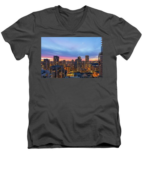 Condominium Buildings In Downtown Vancouver Bc At Sunrise Men's V-Neck T-Shirt