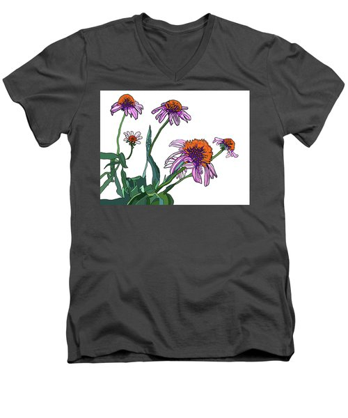 Cone Flowers Men's V-Neck T-Shirt by Jamie Downs