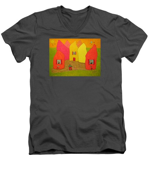 Cone-shaped Houses Man With Dog Men's V-Neck T-Shirt