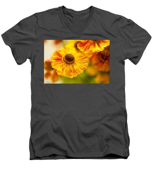 Men's V-Neck T-Shirt featuring the photograph Coneflower Macro by Jenny Rainbow