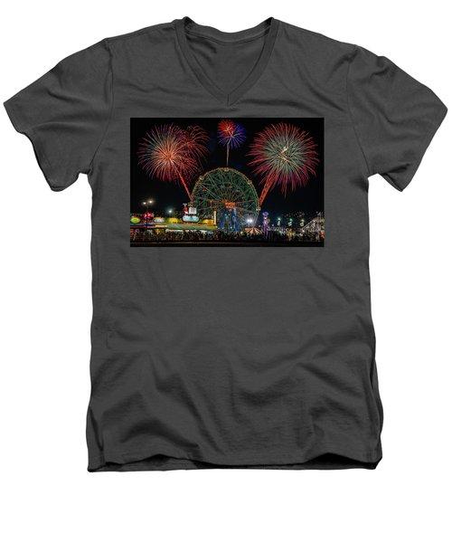 Coney Island At Night Fantasy Men's V-Neck T-Shirt
