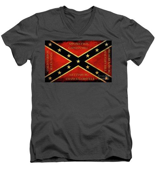 Confederate Battle Flag With Battles Men's V-Neck T-Shirt