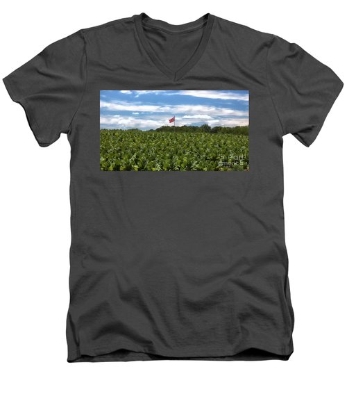 Confederate Flag In Tobacco Field Men's V-Neck T-Shirt by Benanne Stiens