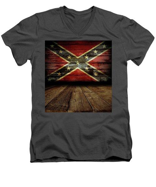 Confederate Flag On Wall Men's V-Neck T-Shirt