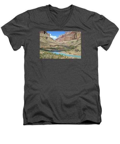 Confluence Of Colorado And Little Colorado Rivers Grand Canyon National Park Men's V-Neck T-Shirt