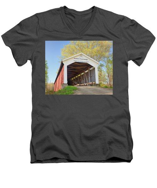 Conley's Ford Covered Bridge Men's V-Neck T-Shirt by Harold Rau