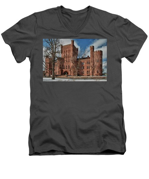 Men's V-Neck T-Shirt featuring the photograph Connecticut Street Armory 3997a by Guy Whiteley