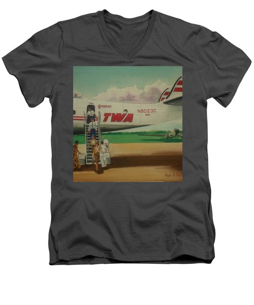 Connie Crew Deplaning At Columbus Men's V-Neck T-Shirt by Frank Hunter
