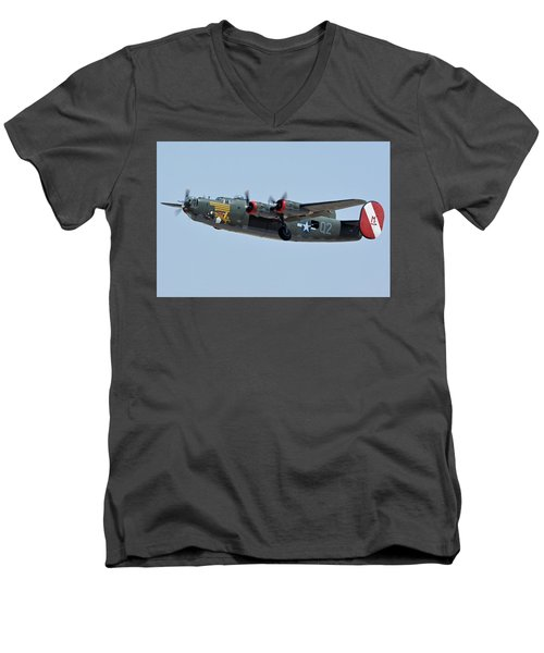 Men's V-Neck T-Shirt featuring the photograph Consolidated B-24j Liberator N224j Witchcraft Phoenix-mesa Gateway Airport Arizona April 15 2016 by Brian Lockett