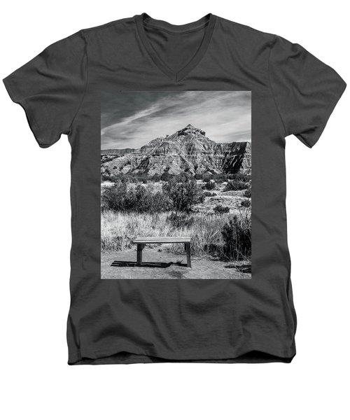 Contemplation Bench Bw Men's V-Neck T-Shirt